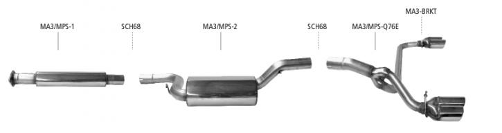 BASTUCK Komplettanlage für Mazda 3 MPS 06-08