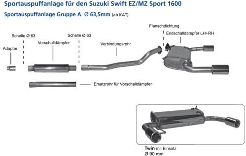 BASTUCK Komplettanlage für Suzuki Swift Sport 1,6 EZ/MZ