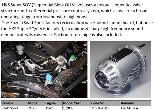 HKS SQV4 Blow Off Ventil Kit Suzuki Swift Sport ZC33S